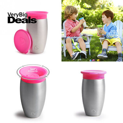 Munchkin Miracle Stainless Steel 360 Sippy Cup, Pink, 10 Ounce