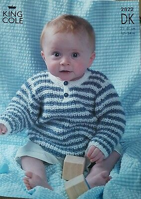 """King Cole 2822 Knitting Pattern Baby Sweaters and Cardigans King Cole DK 12""""-24"""""""