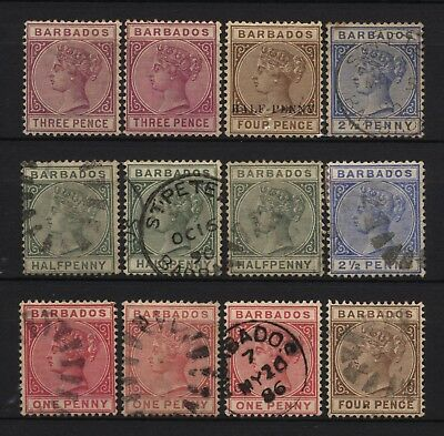 Barbados Collection 12 QV Values Used / Unused Mounted