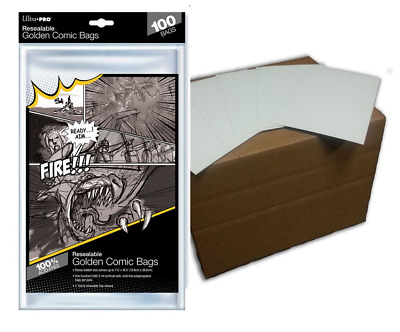 (100) Ultra Pro Golden Age Resealable Comic Bags Plus Acid Free Backing Boards