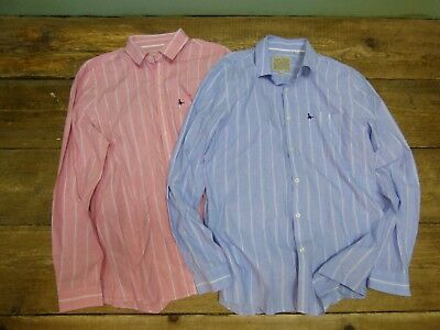 Bundle of 2 x Mens Jack Wills Striped Shirts Red Blue 100% Cotton Size L