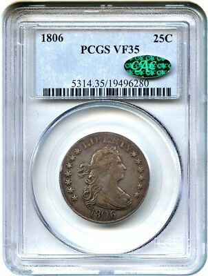 1806 25c PCGS/CAC VF35 - Great Early Type Coin - Bust Quarter