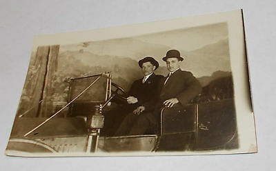 Antique 1900`s RPPC Real Photo Postcard of 2 Men in an Automobile