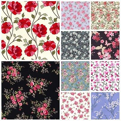 100% Cotton Poplin Fabric - Rose & Hubble - Choice of Floral Designs