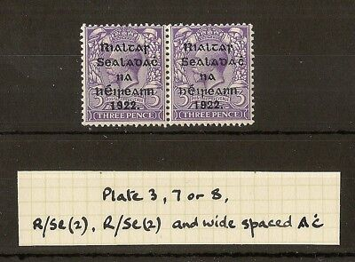 Ireland 1922 3d SG36/a 'R over SE' + Wide Spaced 'AC' Mint Pair