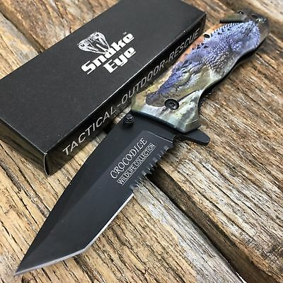 CROCODILE Image RESCUE Tactical Spring Assisted Pocket Knife Outdoor Wildlife