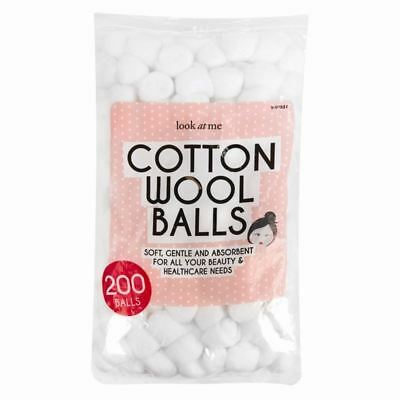 200 Cotton Wool Balls Make Up Nail Polish Varnish Remover Cleaning Absorbent