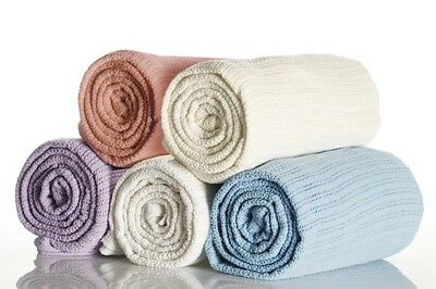 100% Cotton King Bed Size Cellular Blanket in Lilac 280cm x 228cm