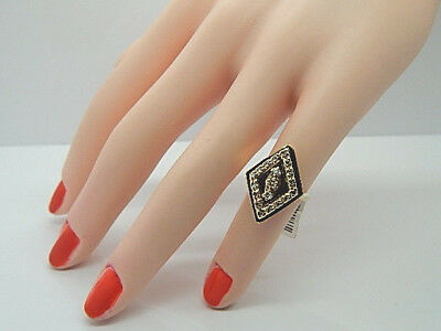 Ladies Antique 14K Yellow Gold Marquise Shaped 21mm Enameled 19 Diamond Ring
