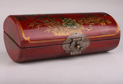 Red Leather Wood Carving Flower Bird Adorns Jewelry Box Vintage Collectable