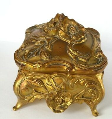 Beautiful, Floral Large, Art Nouveau, Footed Jewelry Box, Trinket Box, 1920