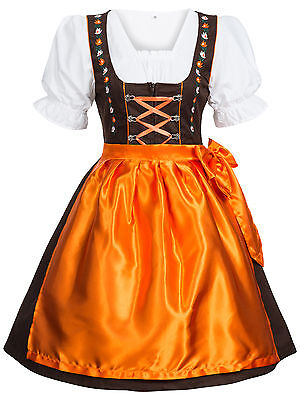 Dirndl Traditional Costume 3 Piece Dress Blouse Apron Brown Orange Size 34 to 44