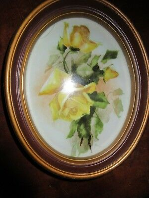Antique Hand Painted Floral Porcelain Oval Plaque KPM Germany Yellow Roses