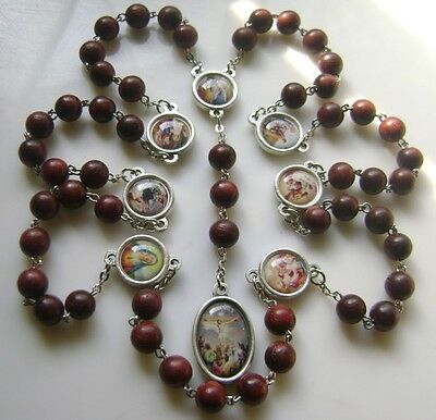 *Fragrance ! Rare Red Sandalwood Beads SEVEN SORROWS ROSARY CATHOLIC NECKLACE