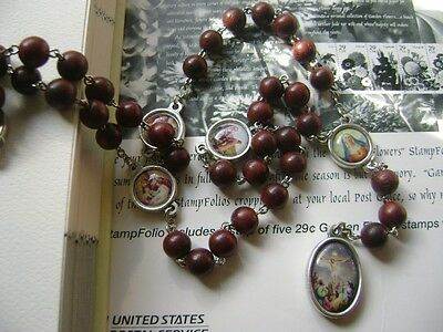 *Fragrance ! Rare Red Sandalwood Beads 7 SEVEN SORROWS ROSARY CATHOLIC NECKLACE