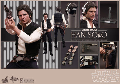 Hot Toys Star Wars Han Solo 1/6 Scale Figure New Hope Harrison Ford Sideshow