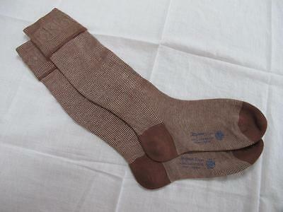 VINTAGE 1940's WW2 ERA CC41 UTILITY MARK BROWN RAYON BOY'S EVACUEE SOCKS - 8½""