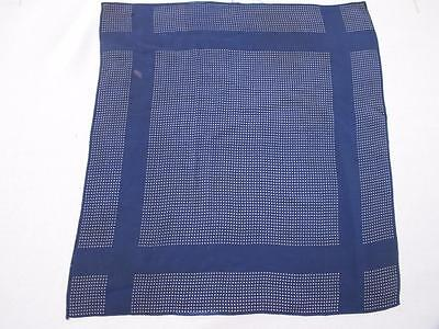 VINTAGE 1980's LARGE GENTLEMAN'S NAVY BLUE &WHITE SPOT SILK HANDKERCHIEF HANKY