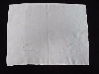 VINTAGE 1930's FLORAL EMBROIDERED COTTON BABY'S PRAM PILLOW COVER SHAMS