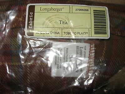 Longaberger Toboso Plaid Fabric Tea Basket liner mint condition in bag not used!