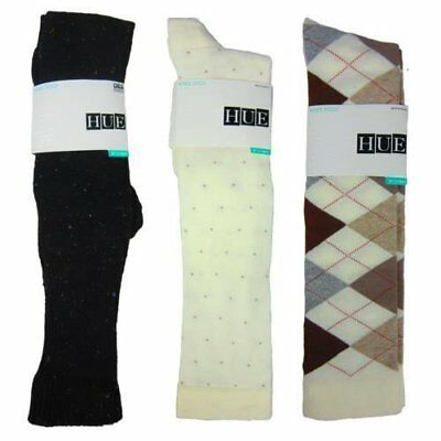 ee23372be NWT Hue Women s Knee Socks 3pk Oatmeal Argyle Black Cuff Tweed Ivory Pin  Dot OS