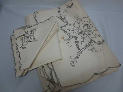 """VINTAGE IVORY LINEN TABLECLOTH 65"""" X 100"""" with 6 NAPKINS 15 3/4"""" ~ NEEDS TLC"""
