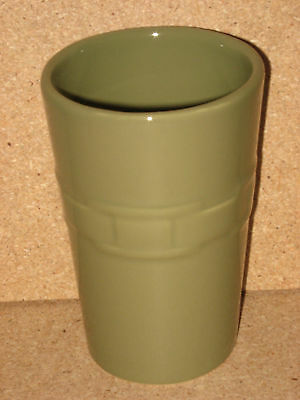 Longaberger Pottery Bathroom Tumbler sage green mint condition in box not used!