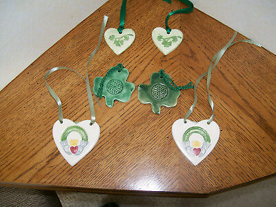 SHAMROCK & HEART HANDMADE POTTERY ORNAMENTS or TIE-ONS - SEE PICS!