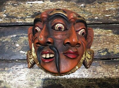 Unusual Vintage Balinese Face Mask Theatrical Two Faced