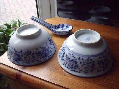 Two Chinese Bowls & Spoons ~ Blue & White Floral design.