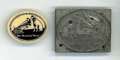 His Masters Voice Early Plastic Badge + H.m.v. Lead Seal