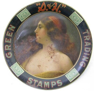 Antique Tin S&h Trading Green Stamps Advertising Tip Tray