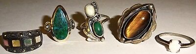 FABULOUS LOT of (5) ASSORTED Antique/Vintage STERLING SILVER RINGS w/STONES~#5!