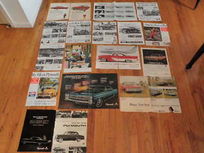 Vintage 1939-1968 Plymouth Car Ad Lot of 18 Wholesale Dealer Lot   Qa26