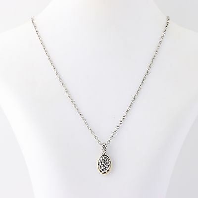 """NEW Textured Oval Pendant Necklace 18"""" - Sterling Silver & 18k Yellow Gold"""