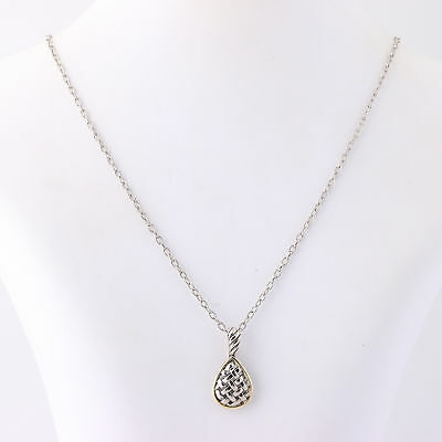 """NEW Woven Design Pendant Necklace 18 1/4"""" - Sterling Silver & 18k Yellow Gold"""