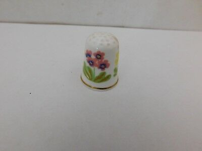 Floral Design thimble by Queens fine bone china made in England Gold Trim