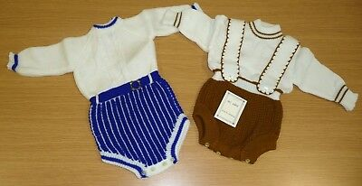 2 x VINTAGE 1970's UNWORN BOYS ASSORTED KNITTED ROMPER SUITS AGE 9-12 MONTHS