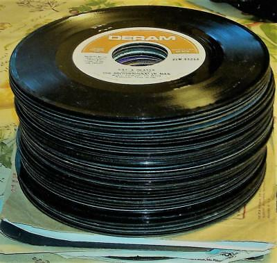 """45 RPM Vinyl Record 7"""" Lot 50+ Assorted Jukebox/Craft Playable G+ to VG+ As Is"""