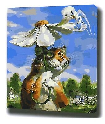 CAT WITH FLOWER PAINT BY NUMBERS CANVAS PAINTING KIT 20 x 16 ins FRAMELESS