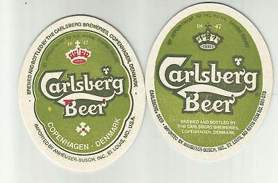 """Lot Of 5 Carlsberg Beer Coasters-St.Louis, MO 4""""  Imported by A-B of St.Louis"""