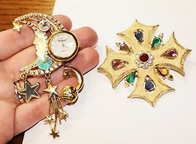 Vintage in Seattle Auction Lot#91 lot of two ornate brooch pins few gems gone