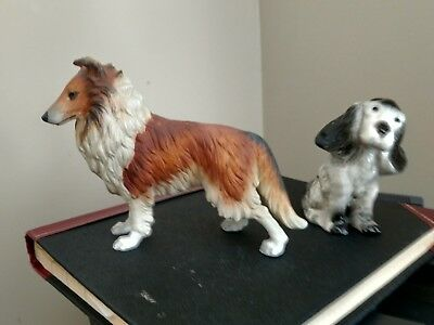 Vintage Collie & Spaniel Figures - Styson Spaniel & Collie # 7733