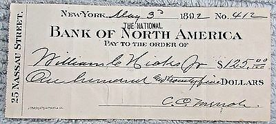 Old 1892 Bank of North America Nassau St New York Canceled Draft Check FREE S/H