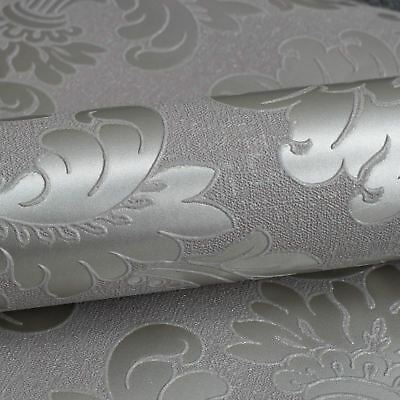Quartz Damask Wallpaper Pewter - Fine Decor Fd41975 Glitter Metallic Shimmer