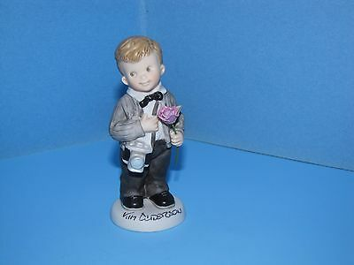 Kim Anderson Pretty As A Picture The Beginning Figurine Signed Boy w/ Rose