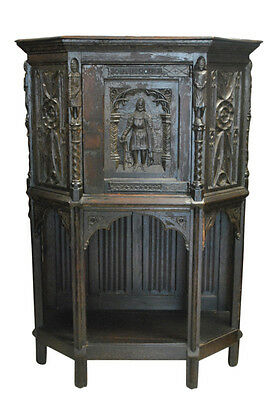 "Antique Hand Carved Oak French Gothic Cupboard Cabinet 59""H, Ca 1860, PA4442VC"