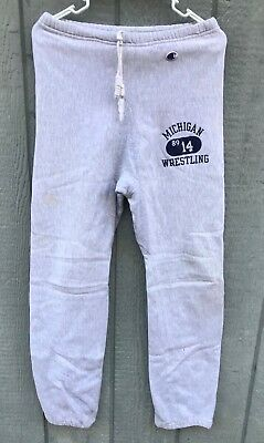 VTG 80's CHAMPION Reverse Weave Michigan Wolverines Wrestling Sweat Pants Md USA