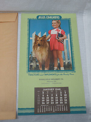 1948 Allis-Chalmers TRACTORS & IMPLEMENT Calendar RUSSELLVILLE OH Ohio - Unused