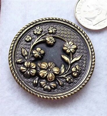 "Large VICTORIAN, Brass BUTTON 1.50"" antique vintage ornate flowers"
